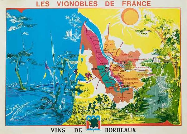 Les Vignobles de France Original French Travel Poster Map Bordeaux