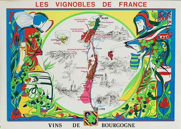 Les Vignobles de France Original French Travel Poster Map Bourgogne