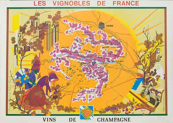 Les Vignobles de France Original French Travel Poster Map Champagne