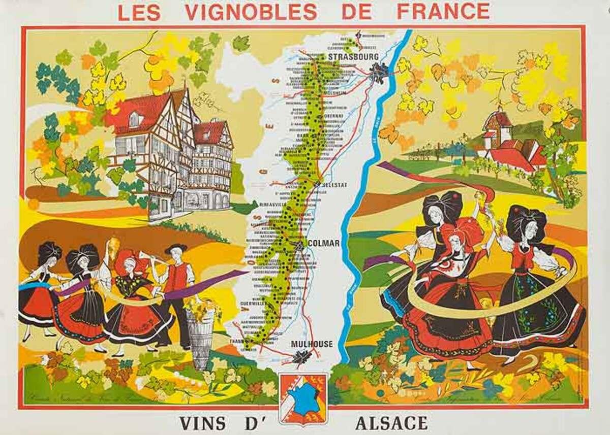 Les Vignobles de France Original French Travel Poster Map Alsace