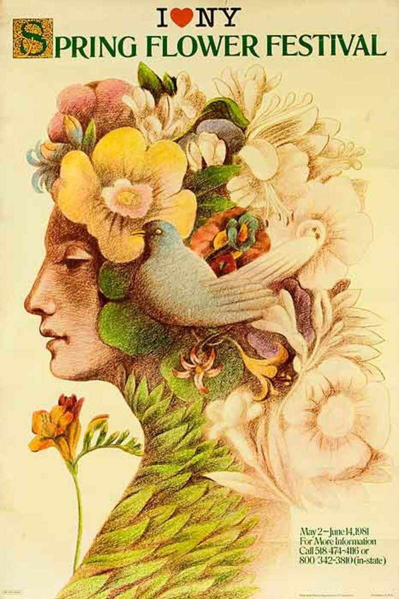 I Love NY Spring Flower Festival Original American Travel Poster