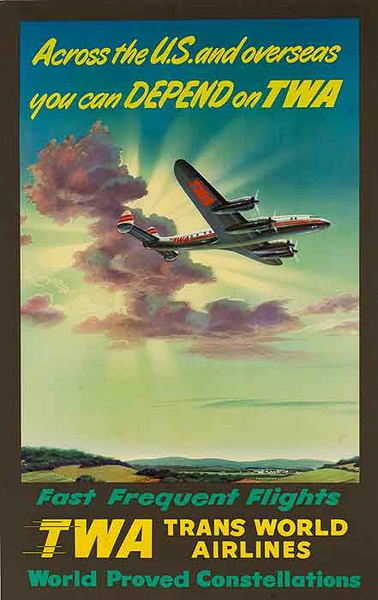 Across the US and Overseas Depend on TWA Original Travel Poster