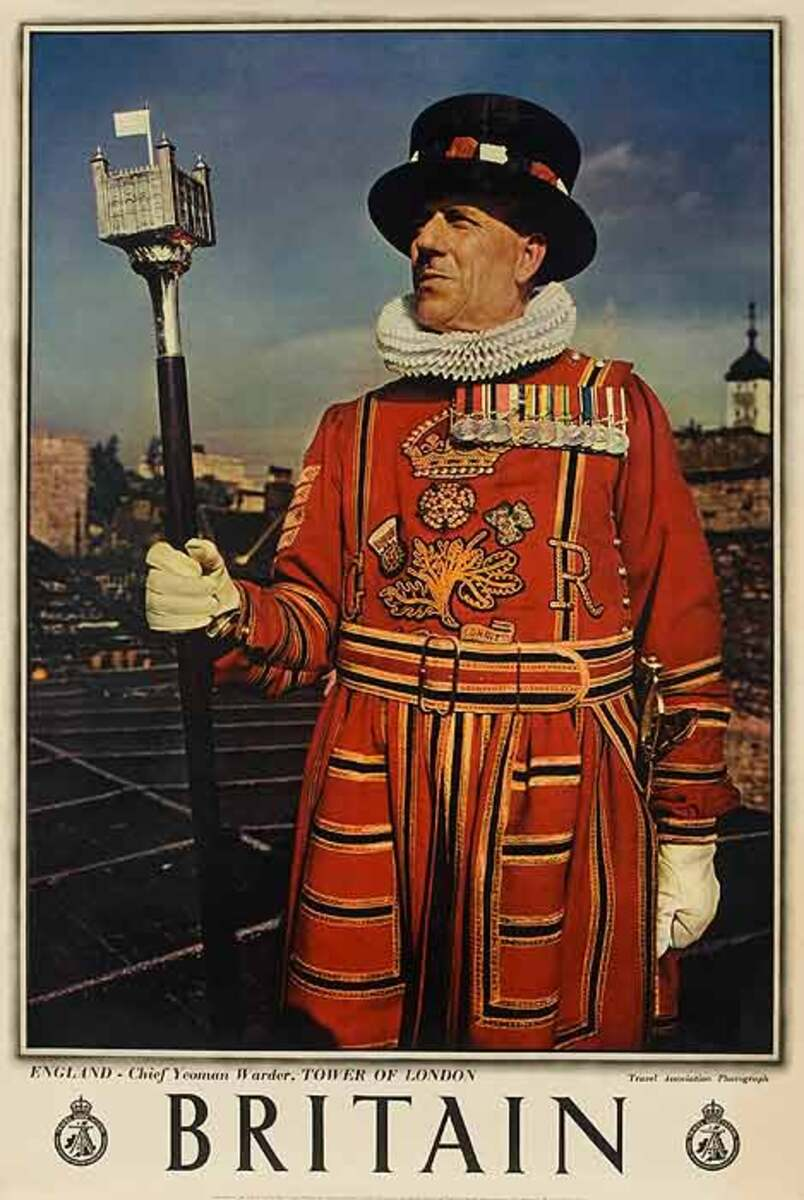 Britain Beefeater Original Travel Poster Color Photo