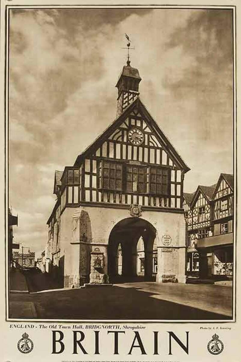 Britain Old Town Hall Original Travel Poster B&W Photo