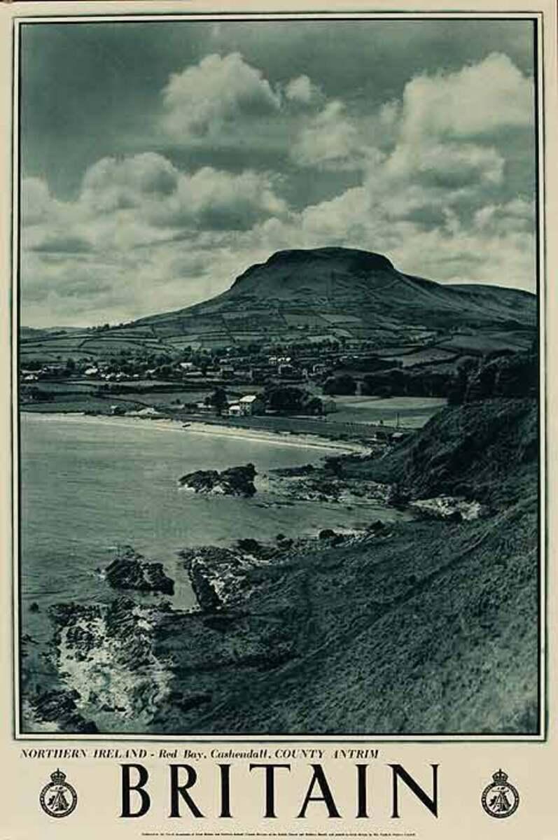 Britain Red Bay Northern Ireland Original Travel Poster B&W Photo