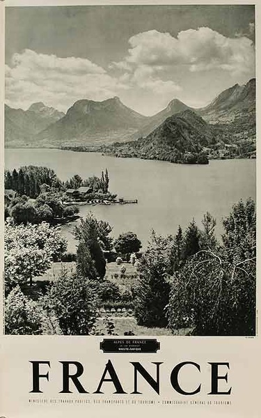 Original French Travel Poster Alpes de France B&W Photo
