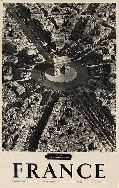 Original French Travel Poster Arc de Triomphe B&W Photo