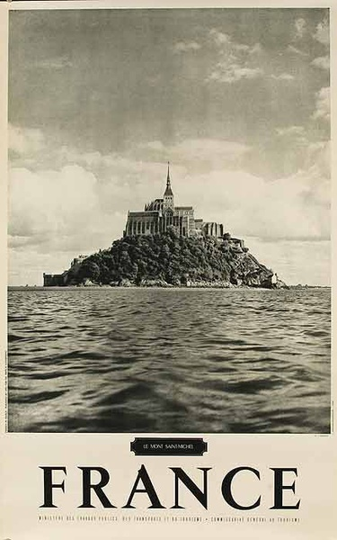 Original French Travel Poster Mont St Michel B&W Photo