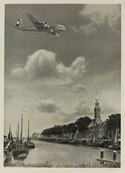 KLM Airplane Over Canal Original Travel Poster B&W Photo