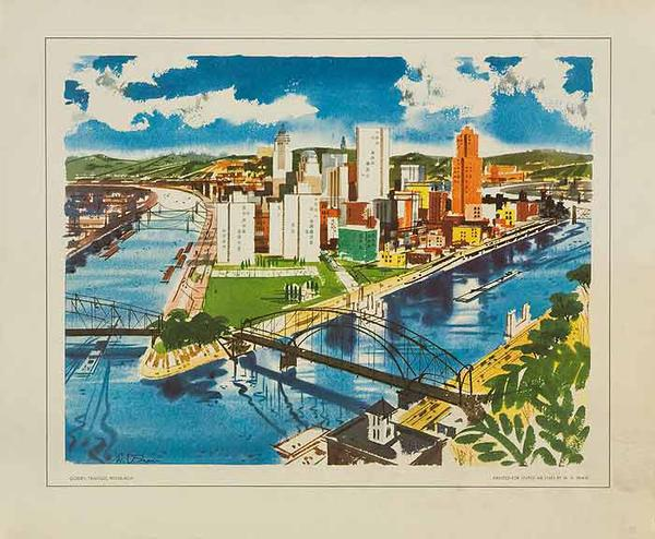 United Airlines Small Sized Original Travel Print Pittsburgh 3 Rivers
