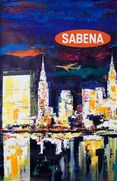 Sabena Original Travel Poster City Scene