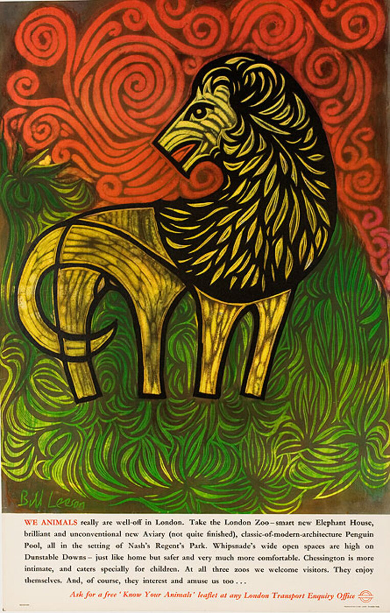 London Underground Original Poster Zoo Lion