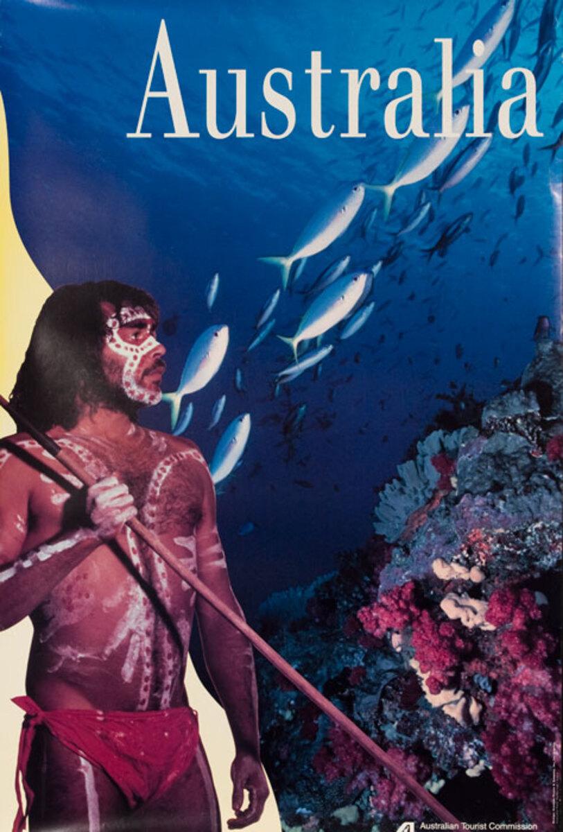 Australian Tourist Board Original Travel Poster Aborigine Reef Photo