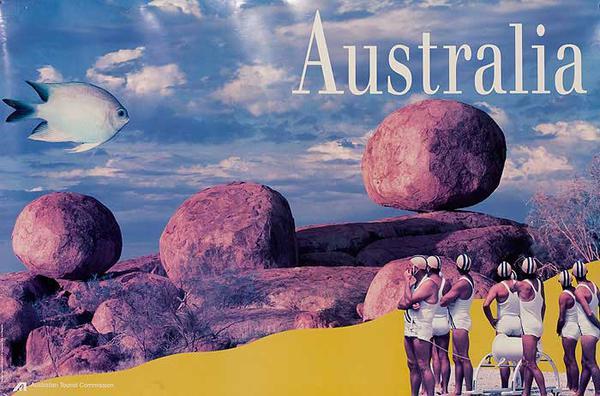 Australian Tourist Board Original Travel Poster Boulders Fish Lifeguards Photo