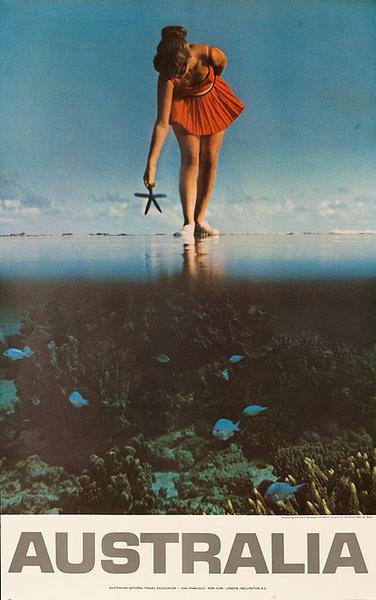 Australian Tourist Board Original Travel Poster Woman With Starfish