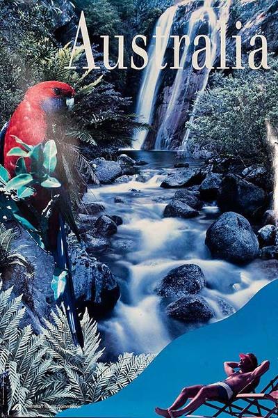 Australian Tourist Board Original Travel Poster Waterfall Scene