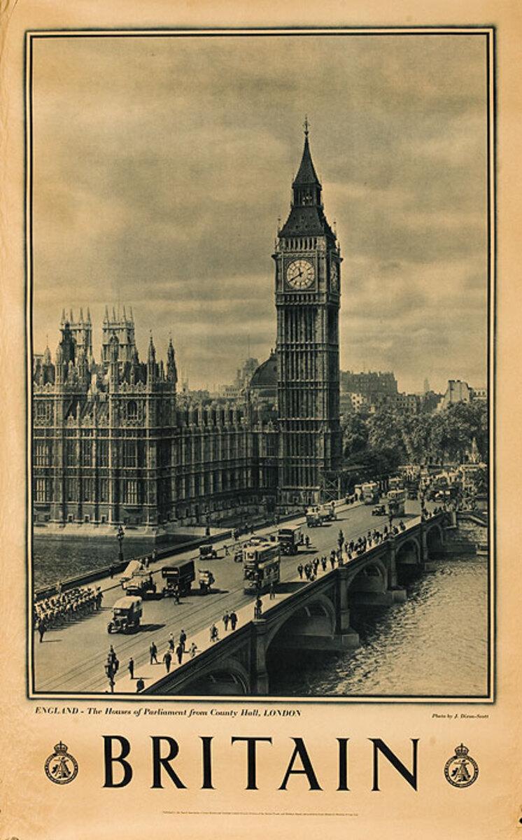 Britain Original Travel Poster Big Ben Photo