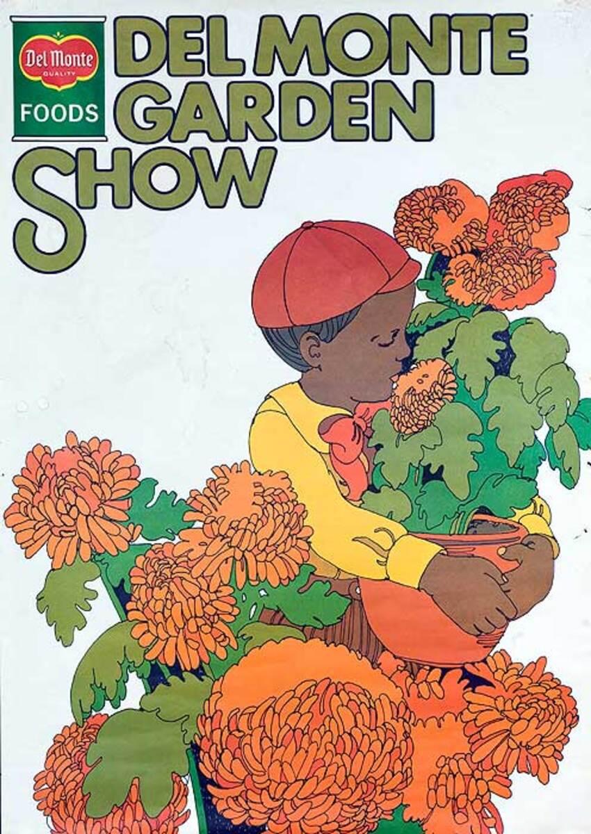 Del Monter Garden Show Original American Advertising Poster boy with flowers