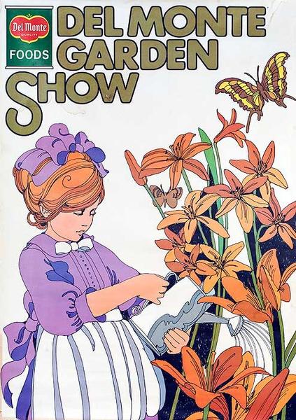 Del Monter Garden Show Original American Advertising Poster girl with flowers