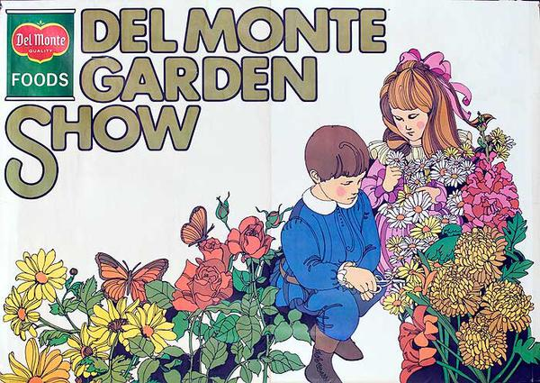 Del Monter Garden Show Original American Advertising Poster kids with flowers