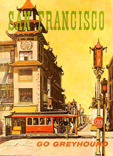Greyhound Bus Lines Original Travel Poster San Francisco Cable Car