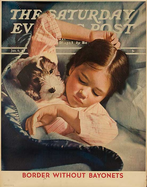 The Saturday Evening Post Original Advertising Poster Jan 6. 1940 Sleeping Child