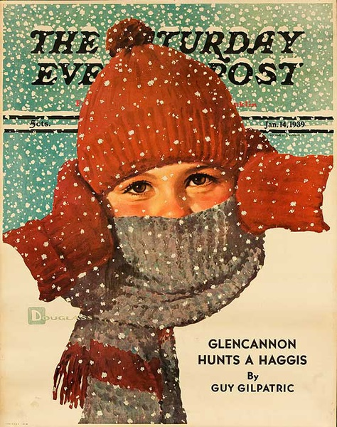 The Saturday Evening Post Original Advertising Poster kid with scarf  Jan 14, 1939