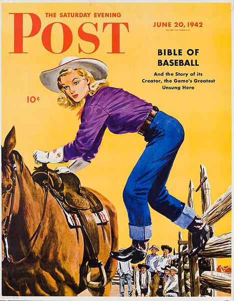 The Saturday Evening Post Original Advertising Poster Jun 20, 1942 Cowgirl