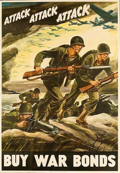 Attack Attack Attack Buy War Bonds Original American WWII Poster