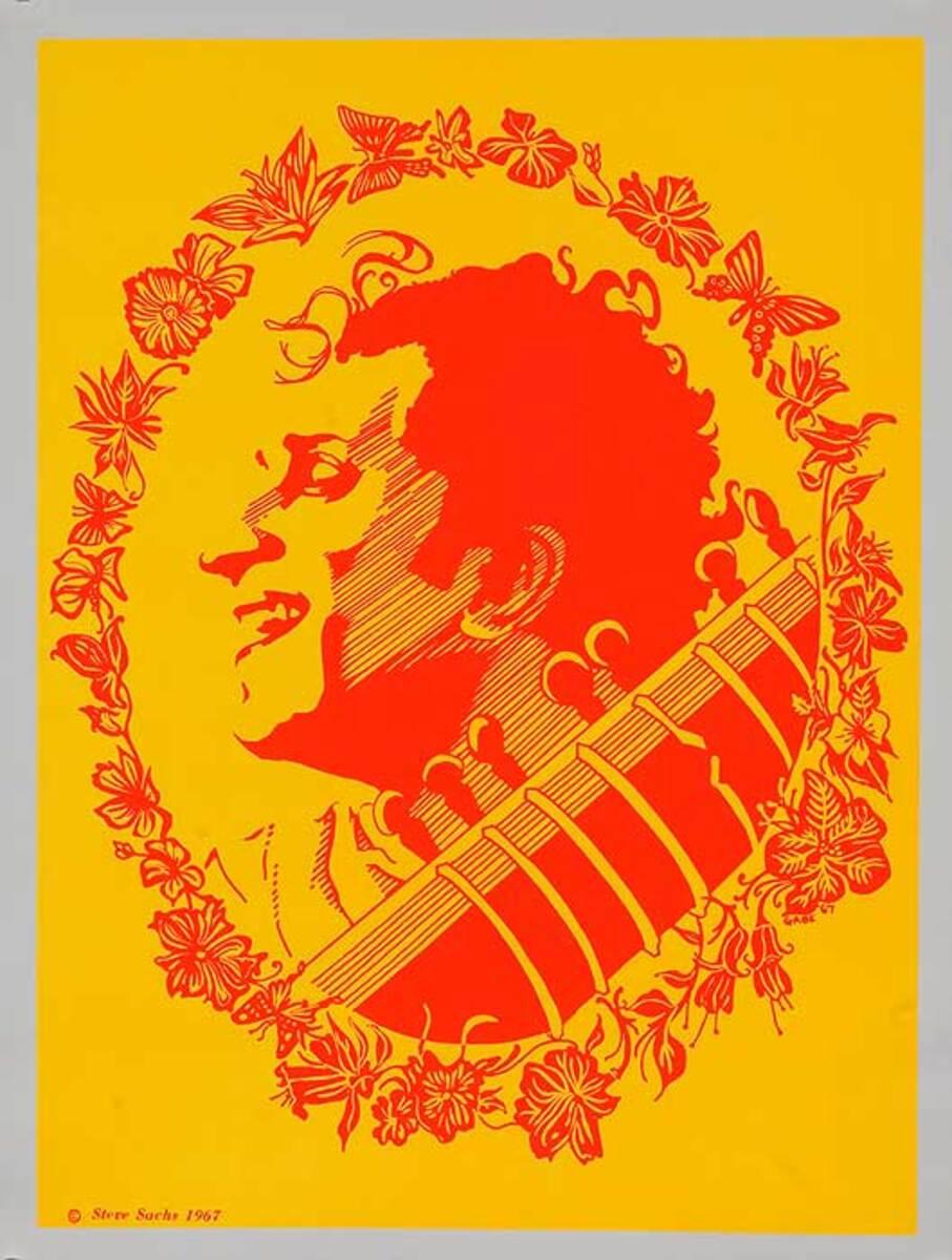Ravi Shankar Psychedelic Black Light Poster