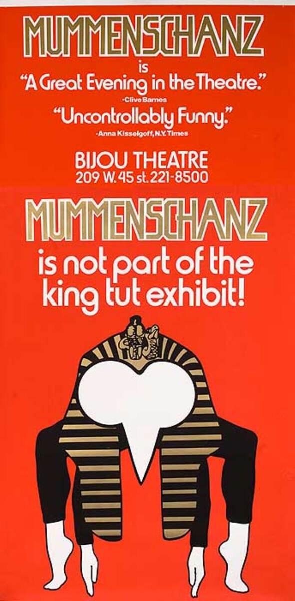 Mummenschanz Is Not Part of the King Tut Exhibit Original American Theater Poster