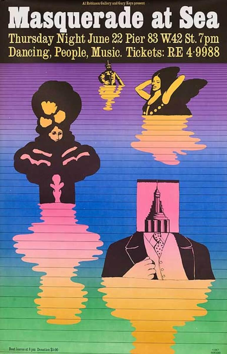 Masquerade at Sea Original Disco Poster