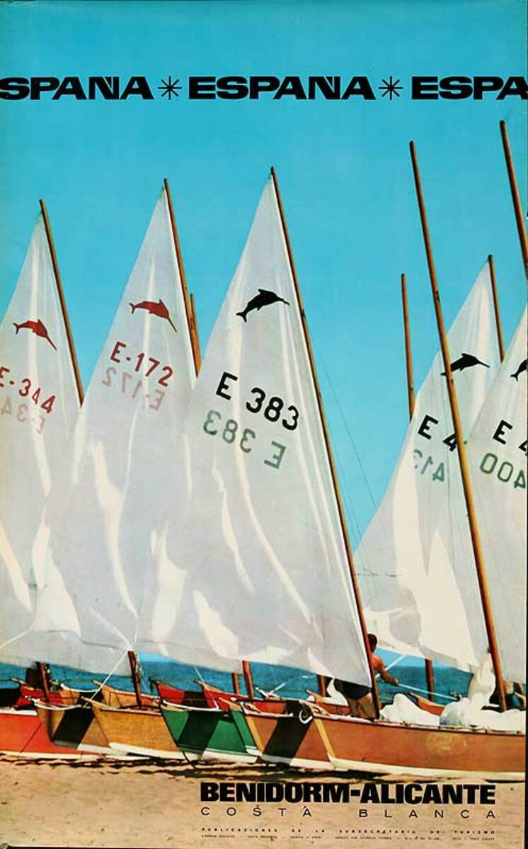 Benidorm-Alicante Original Spanish Travel Poster Sailboats
