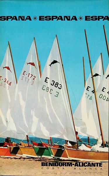 Benidorm-Alicante Original Spanish Travel Poster Sailboats