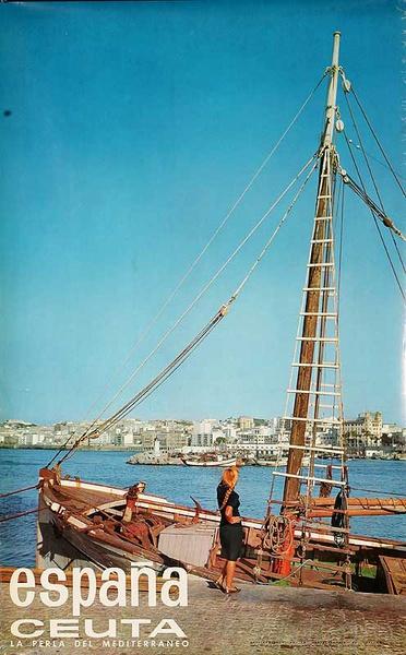 Espana Ceuta Original Spanish Travel Poster fFshing Boat