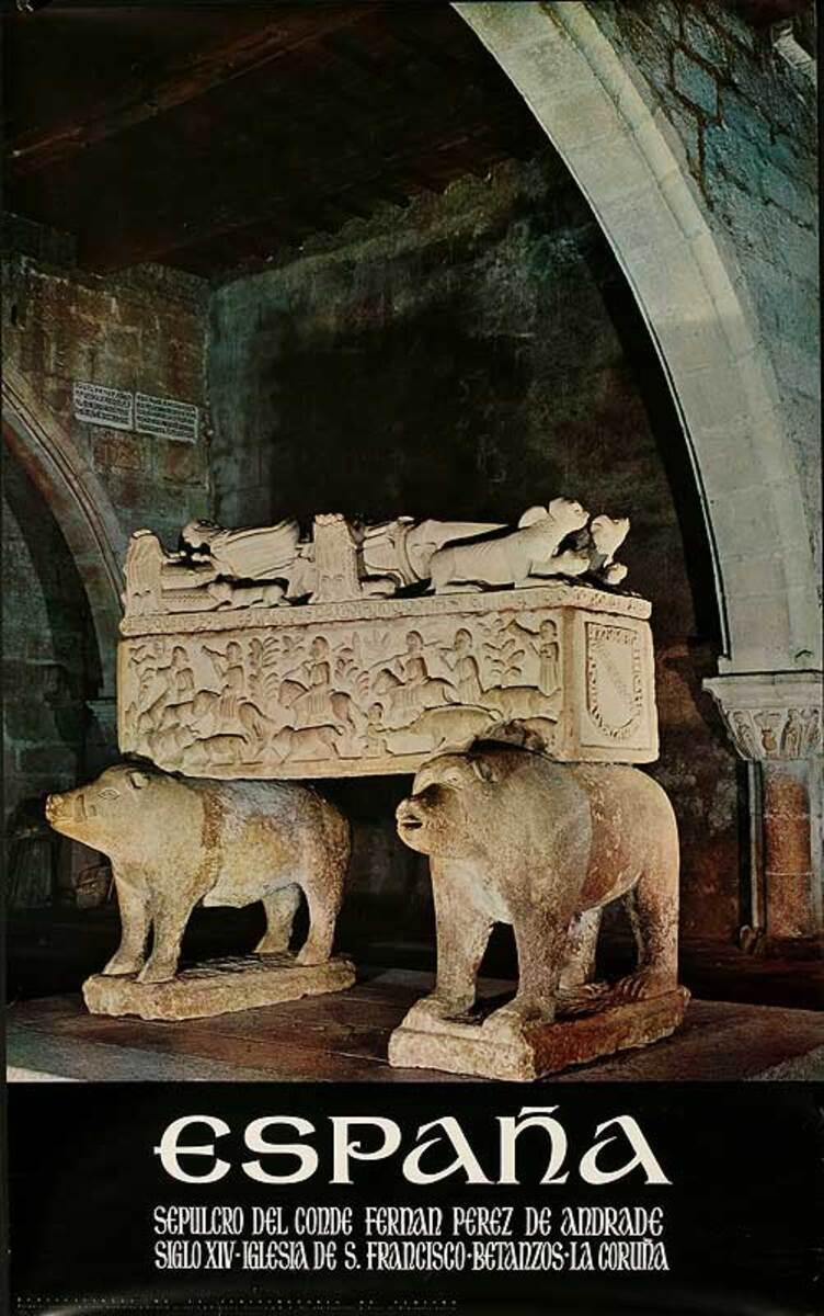 Espana Sepulcro Original Spanish Travel Poster Tomb of Fernan Perez