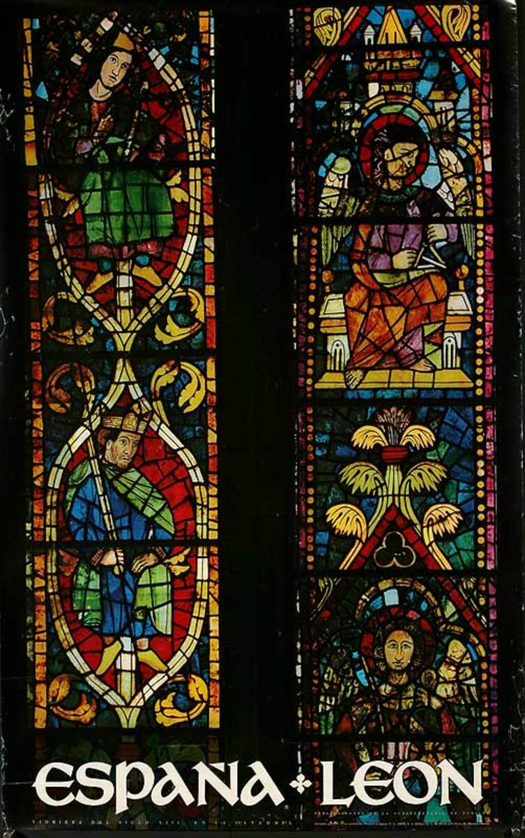 Espana Leon Original Spanish Travel Poster Stained Glass