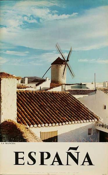 La Mancha Original Spanish Travel Poster Windmill