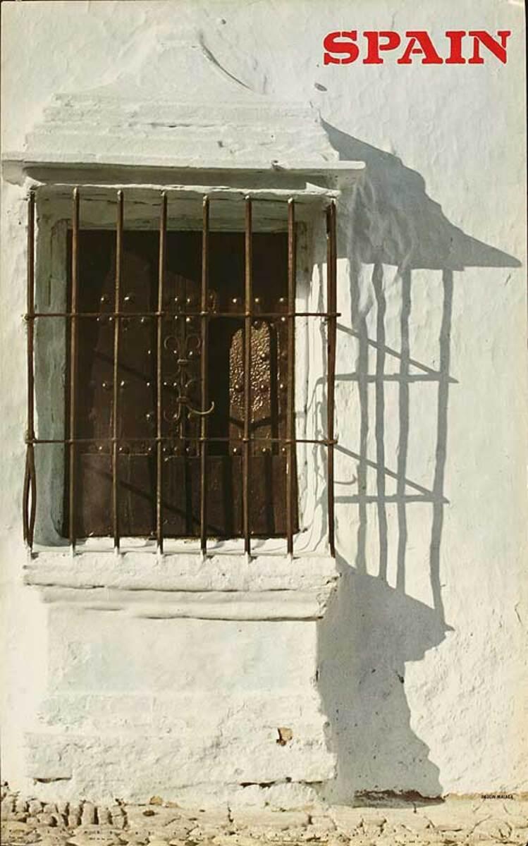 Spain  Original Spanish Travel Poster White Town Window