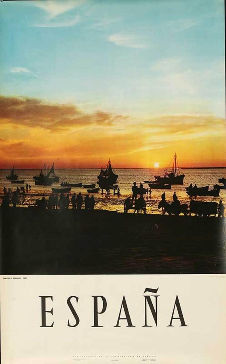Espana  Original Spanish Travel Poster Beach at Sunset