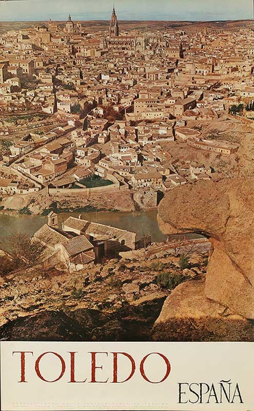 Espana Toledo  Original Spanish Travel Poster Rooftops