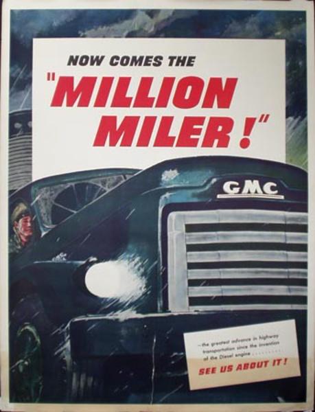 General Motors GMC Trucks Million Miler Original Advertising Poster
