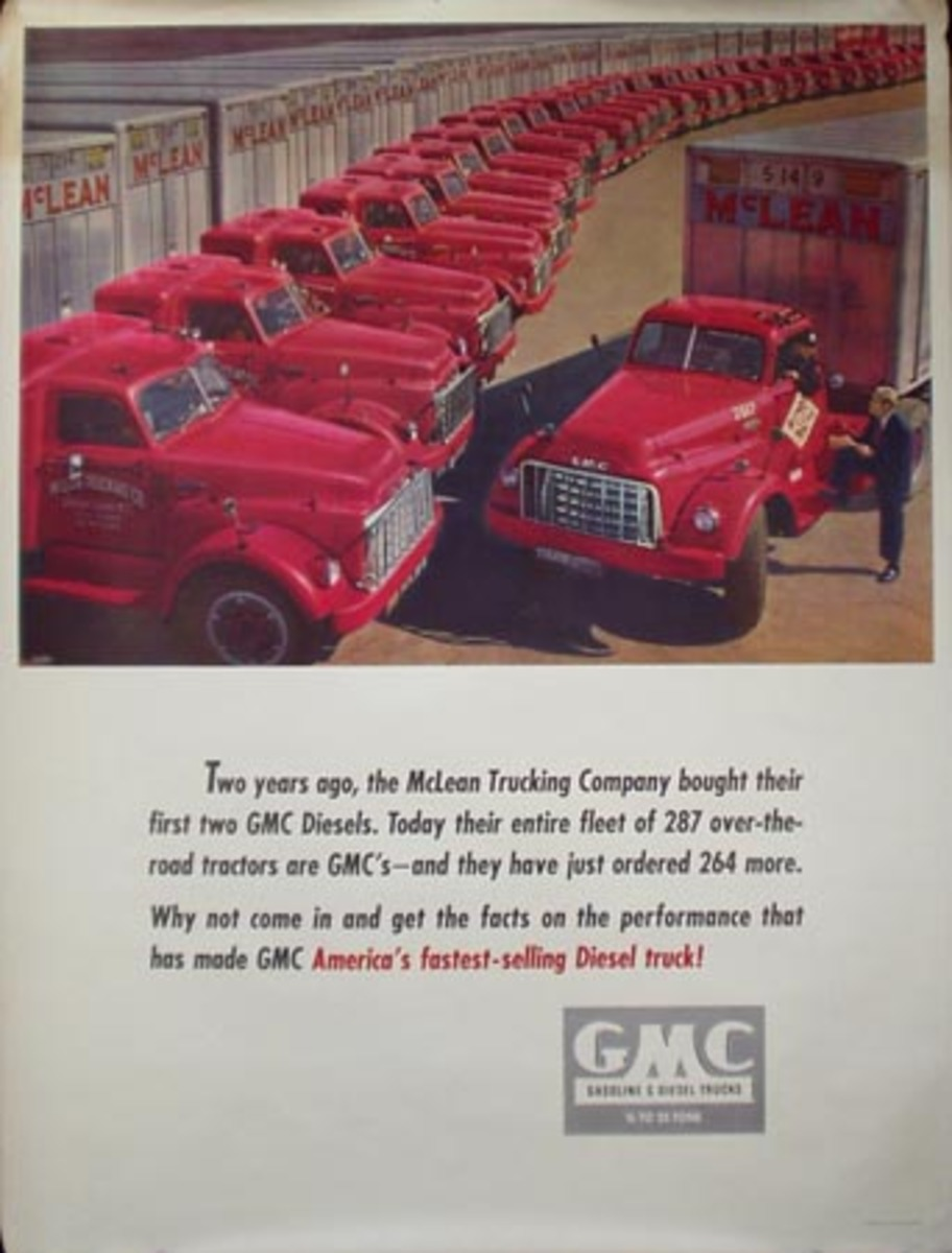 General Motors GMC Trucks Americas Fastest Selling Diesel Original Advertising Poster