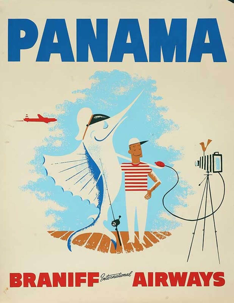 Braniff Airlines Panama Original Travel Poster Prize Fish Photo