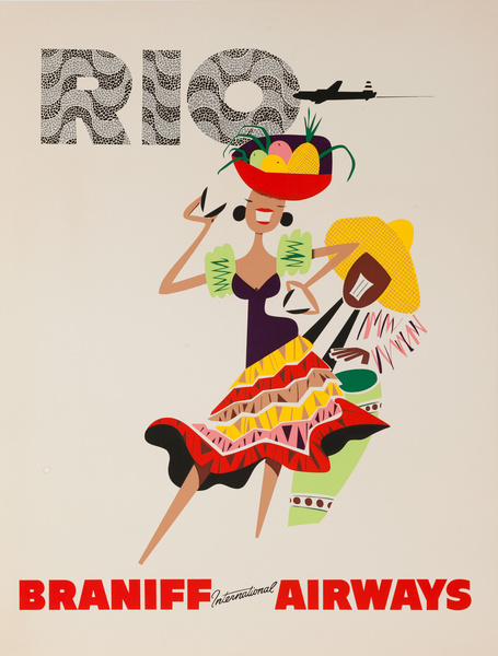 Braniff Airways Rio de Janeiro Original Travel Poster Woman Brazil