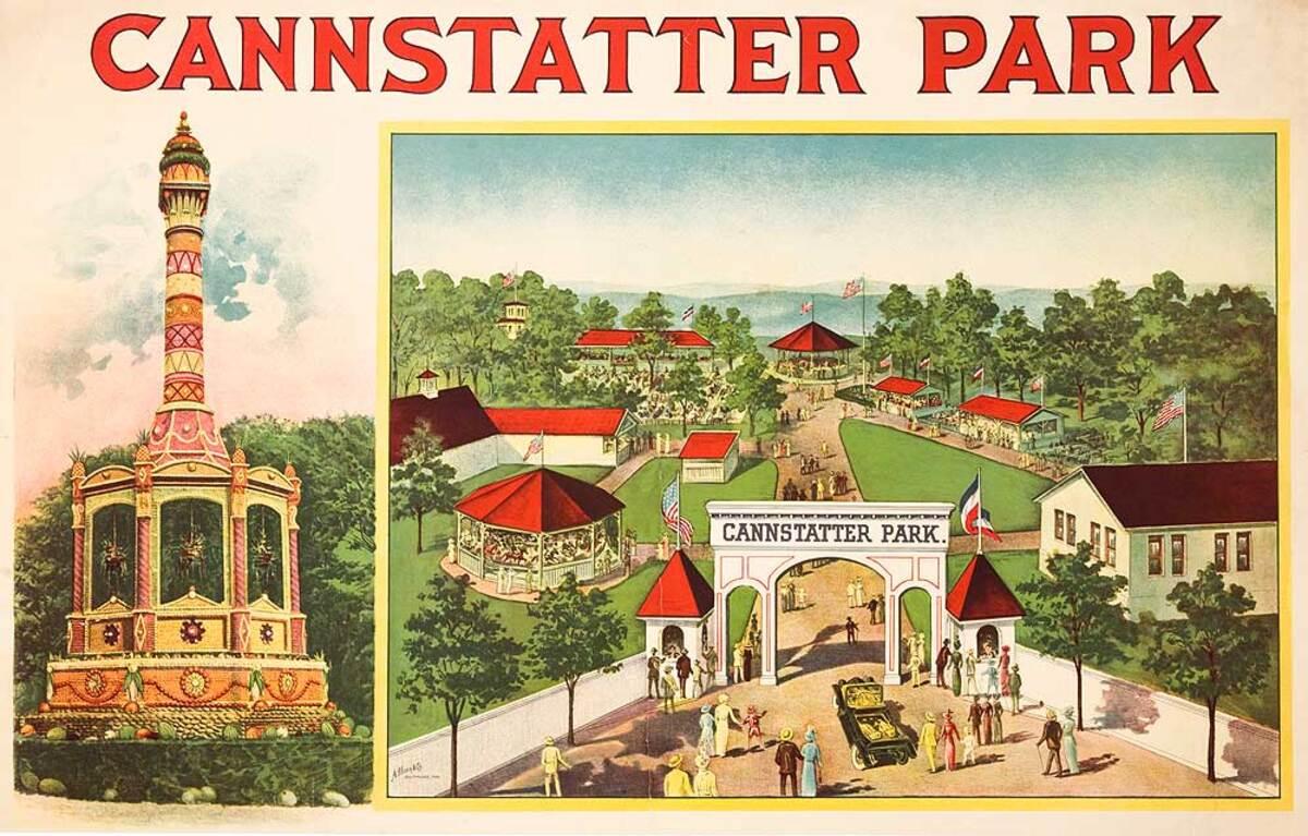 Cannstatter Park Pennsylvania Original American Amusement Park Advertising Poster