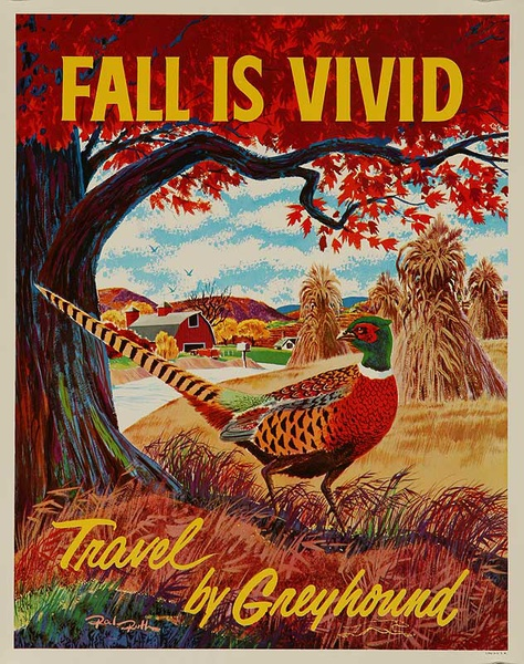 Fall is Vivid Original Greyhound Bus Poster