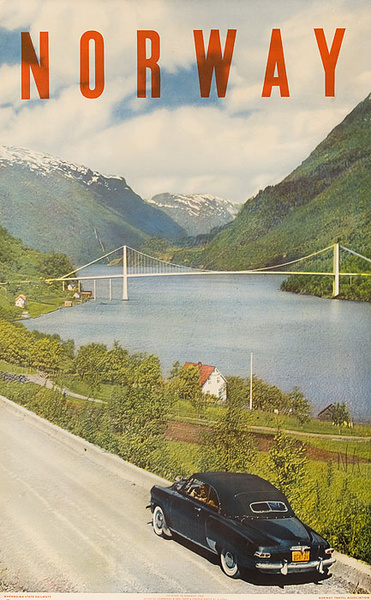 Original Norway Travel Poster bridge photo