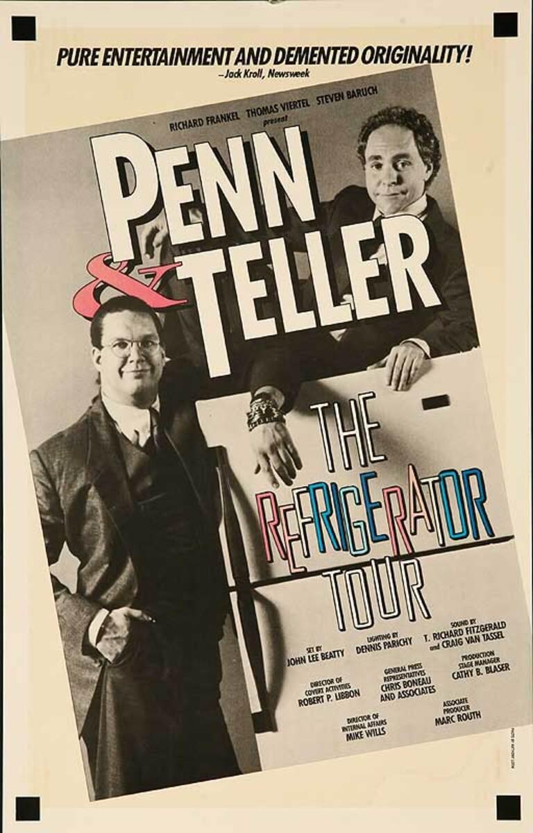 Penn & TellerThe Refrigerator Tour Original American Theater Lobby Card