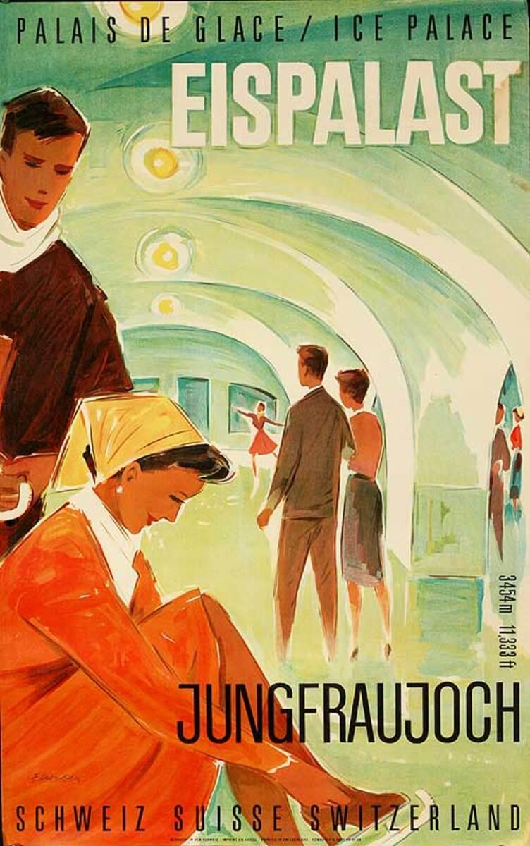 Eisenpalast Jungfraujoch Original Swiss Travel Poster